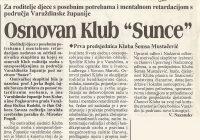 1996 Š. Mustačević osnovala Klub Sunce Varaždinske županije