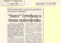"""Prvi klub """"Sunce"""" u Domu umirovljenika"""